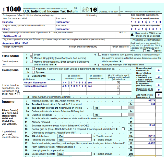 IRS Form 1040 Example