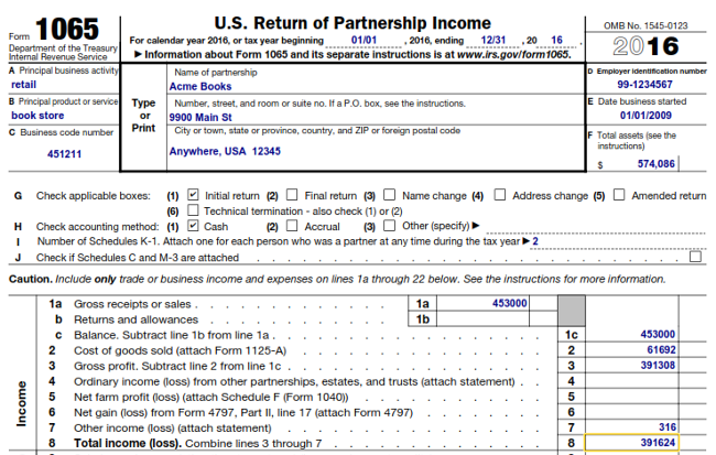 IRS Form 1065 Example