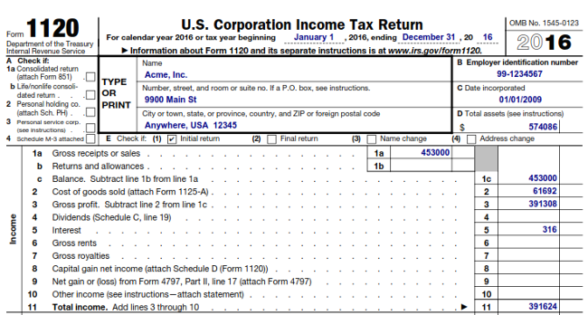 IRS Form 1120 Example