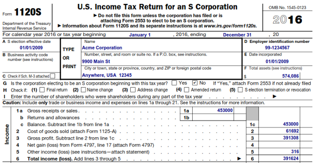 IRS Form 1120S Example