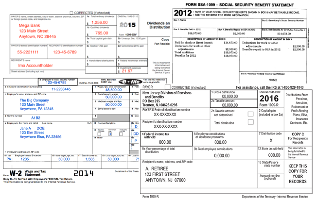 Examples of IRS W-2s and 1099s